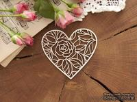 Чипборд от WOODchic - Сердце с розой, 7х7.6 см