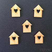 Деревянная фигурка WOOD-048 - Скворечник с сердечком, 1 штука