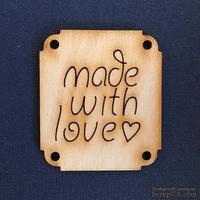 Деревянная фигурка WOOD-062 - Made with Love 1, 1 штука - ScrapUA.com