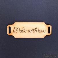 Деревянная фигурка WOOD-063 - Made with Love 2, 1 штука