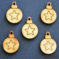 Деревянная фигурка WOOD-068 - Шарик со звездой, 1 штука