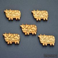 Деревянная фигурка WOOD-078 - Коровка пятнистая, 1 штука