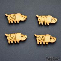 Деревянная фигурка WOOD-080 - Собачка пятнистая, 1 штука