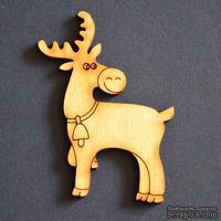 Деревянная фигурка WOOD-104 - Олень большой с колокольчиком, 1 штука