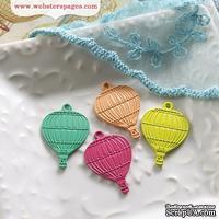 Металлические украшения Webster's Pages - Hotair Balloons, 4 штуки