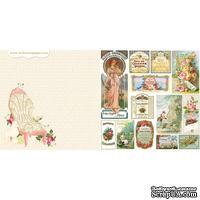 Лист двусторонней скрапбумаги Webster's Pages - Postcards from Paris -Mademoiselle? 30х30 см