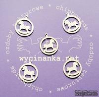 Чипборд от  Wycinanka  - Медальоны  с лошадкой, 3,5x4 см, 5 шт.