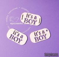 "Чипборд от Wycianka - Тег с надписью ""it's a boy"", 3 шт."