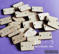 Деревянные украшения от Wycinanka - Деревянные таблички для Адвент-календаря, 2x2,8 см, 24 дет.