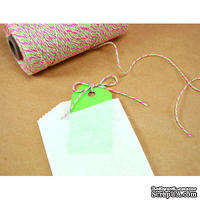 Хлопковый шнур от Divine Twine - Watermelon, 1 мм, цвет арбуза (белый, красный, зеленый), 1м