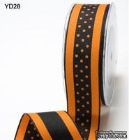 Лента от May Arts - ORANGE/BLACK,  3,8 см, цвет оранжевый/черный, длина 90 см