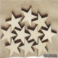 Деревянные украшения Звезды, 10 штук