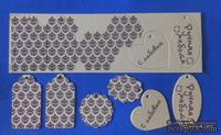 """Набор тэгов из плотного крафт-картона с принтом """"Дамаск"""", толщина 1,3мм, 12 штук"""
