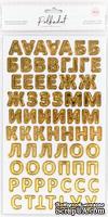 Картонные стикеры - алфавит с золотым фольгированием от Polkadot, 144 шт.