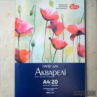 Акварельная бумага, размер А4, 20 листов, плотность 200г/м2, Роса (16G5542)