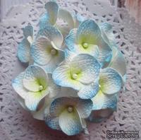 Гортензии из фоамирана,  диаметр 35 мм, цвет белый с голубым, 5 шт.