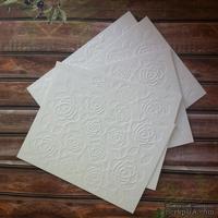 Картон с тиснением - Розы, 14,6 х 10,8 см, цвет белый с оттенком слоновой кости, 5 штук