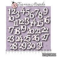 Белый чипборд от Бумага Марака. Набор цифр от 1 до 31. Адвент-календарь