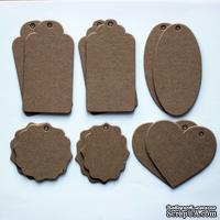 Набор тэгов из плотного крафт-картона, толщина 1,3мм, 12 штук