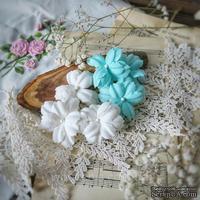 Набор цветов Фэнтази, белый-мята от WOODchic, 4,5 см, 6шт.