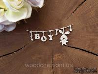 """Чипборд """"Подвеска детская с зайчиком """"Boy"""" от WOODchic, 9х4 см, 1,6мм, белый картон"""