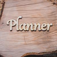 """Деревянная вырубка от Вензелик - Надпись """"Planner"""",  92x30 мм - ScrapUA.com"""