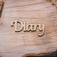 """Деревянная вырубка от Вензелик - Надпись """"Diary"""", 68x33 мм"""