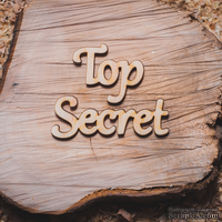 """Деревянная вырубка от Вензелик - Надпись """"Top Secret"""", 115x34 мм"""