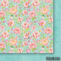 Лист двусторонней  скрапбумаги от Galeria Papieru - Jak we snie  02 - Цветы на голубом - 30,5 х 30,5 см