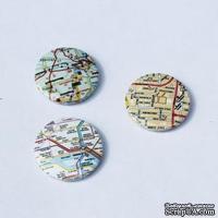 Скрап-значки (фишки). Скрап-значки. Карта города, 3 шт. f44