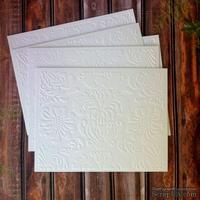 Картон с тиснением - Растительный узор, 14 х 11 см, цвет белый с оттенком слоновой кости, 5 штук