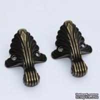 Ножки для шкатулок и сундучков металлические, 4 детали