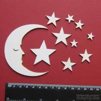 Чипборд от Вензелик - Луна и звезды, размер набора: 90*130 мм