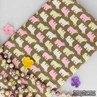 Ткань Оксфорд, Полярный мишка на коричневом фоне, 45х55см