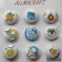 Тканевые пуговицы от  Allmacraft - серия Малыши, диаметр 2,5 см, 9 штук