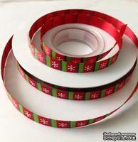 """Сатиновая лента """"Снежинки"""", ширина 10 мм, цвет: красный, зеленый, белый,длина 90 см"""