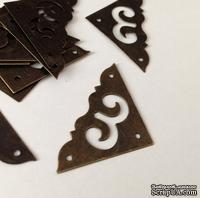 Уголок металлический, цвет старая латунь, 38х38мм, 1 деталь