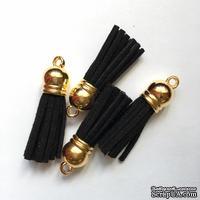 Подвеска - Кисточка из замши с золотым наконечником, 35х10 мм, цвет черный