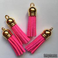 Подвеска - Кисточка из замши с золотым наконечником, 35х10 мм, цвет ярко-розовый
