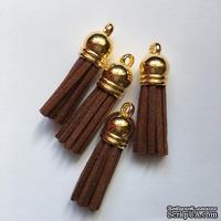 Подвеска - Кисточка из замши с золотым наконечником, 35х10 мм, цвет коричневый