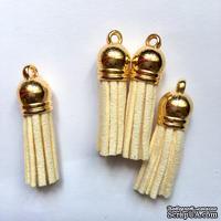 Подвеска - Кисточка из замши с золотым наконечником, 35х10 мм, цвет кремовый