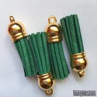 Подвеска - Кисточка из замши с золотым наконечником, 35х10 мм, цвет лесной зеленый