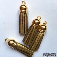 Подвеска - Кисточка из замши с золотым наконечником, 35х10 мм, цвет золотой