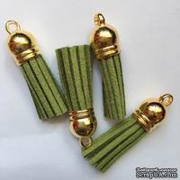 Подвеска - Кисточка из замши с золотым наконечником, 35х10 мм, цвет оливковый