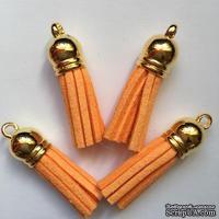 Подвеска - Кисточка из замши с золотым наконечником, 35х10 мм, цвет персиковый
