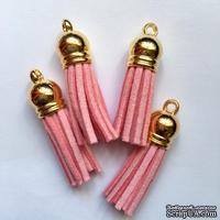 Подвеска - Кисточка из замши с золотым наконечником, 35х10 мм, цвет розовый