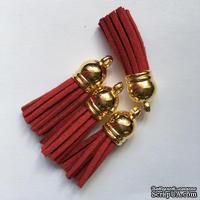 Подвеска - Кисточка из замши с золотым наконечником, 35х10 мм, цвет красный