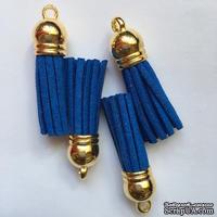 Подвеска - Кисточка из замши с золотым наконечником, 35х10 мм, цвет королевский синий