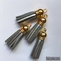 Подвеска - Кисточка из замши с золотым наконечником, 35х10 мм, цвет серебряный