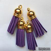 Подвеска - Кисточка из замши с золотым наконечником, 35х10 мм, цвет фиолетовый